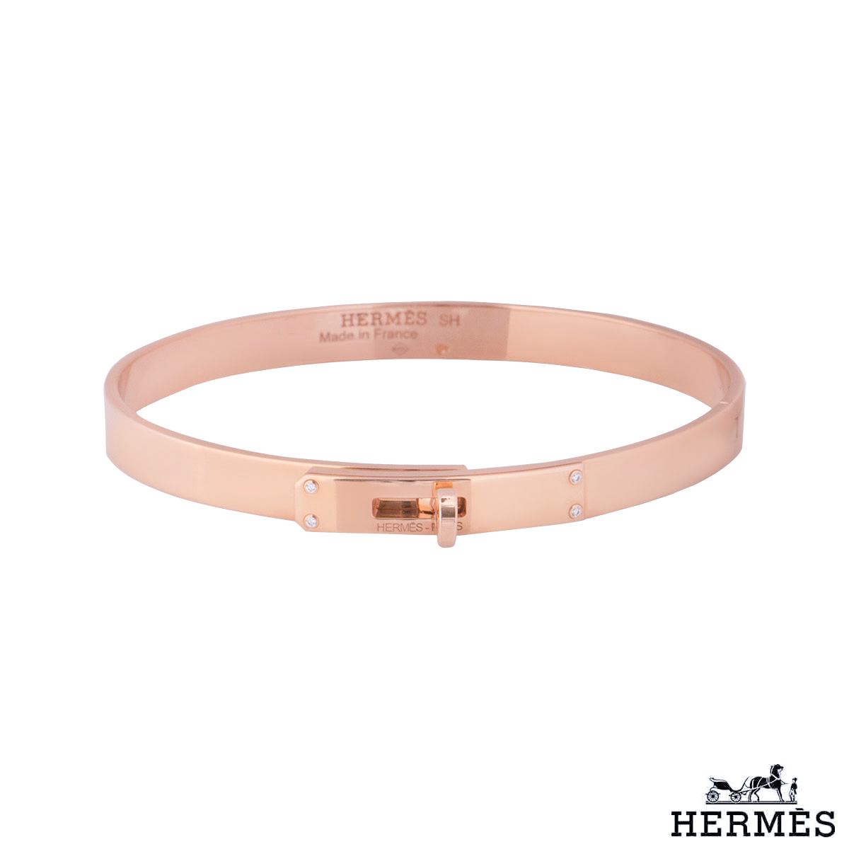 Hermès Rose Gold Diamond Kelly Bracelet